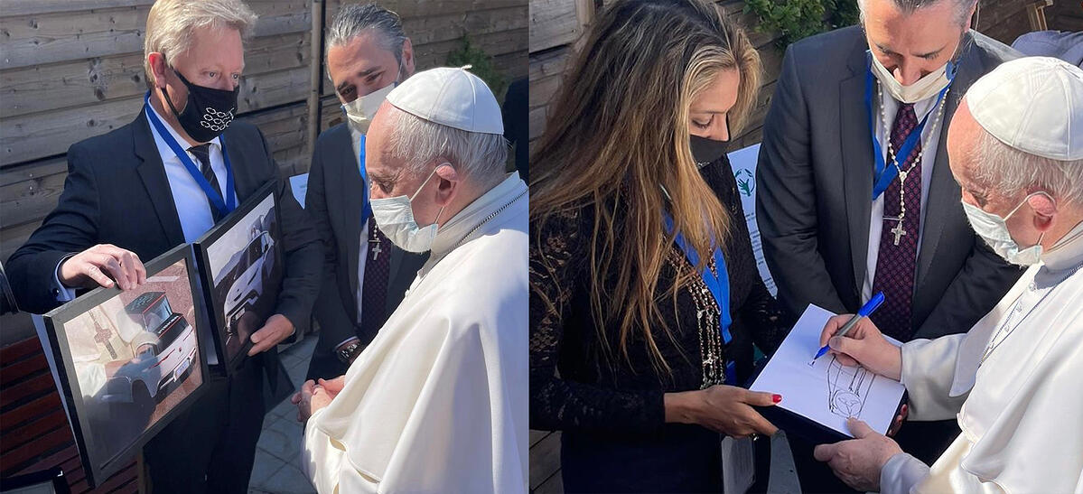 Pope Francis Signing